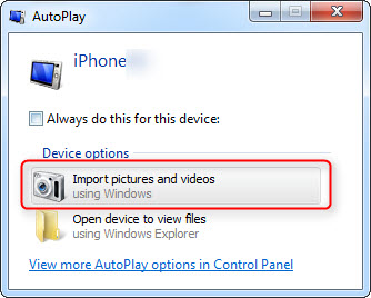 Transfer Videos from iPhone to PC via AutoPlay in Windows 7