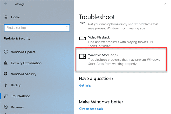 Run Troubleshoot for Windows Store Apps