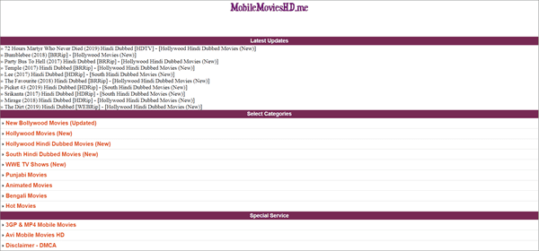 Mobile Movies HD is one of the best Websites to Download Bollywood Movies Online for Free.