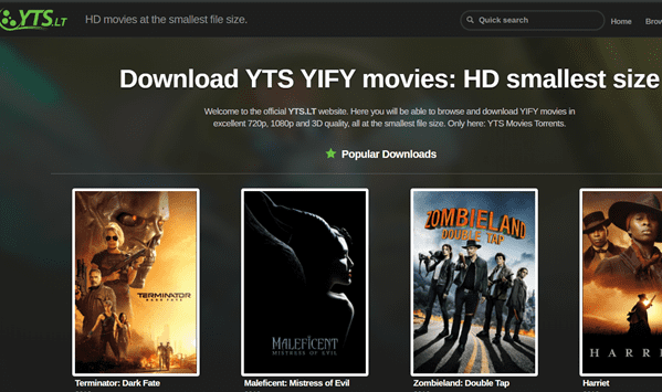 YTS is actually a really neat website for downloading Bollywood movies for free.