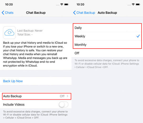 Change WhatsApp Auto Backup Frequency.