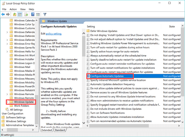 Disable Windows 10 Update with Group Policy Editor.