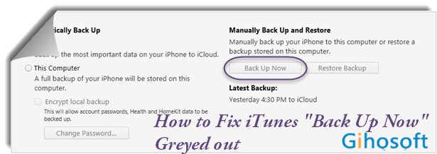 Fix Backup Option Greyed out in iTunes.