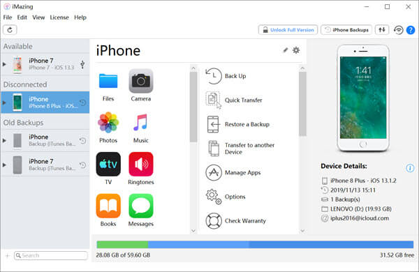 iMazing is a professional iOS data management tool developed to replace the Apple iTunes.