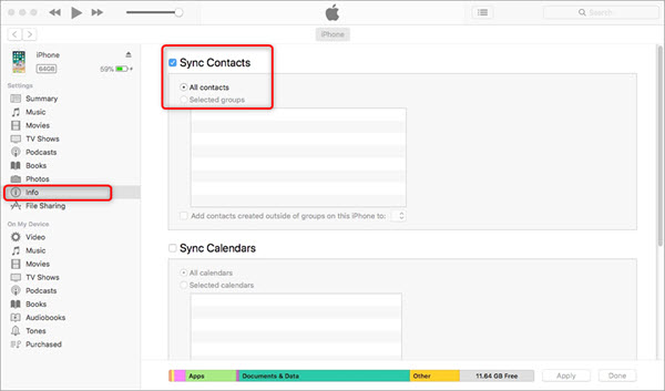 Sync iPhone Contacts to Mac with iTunes or Finder