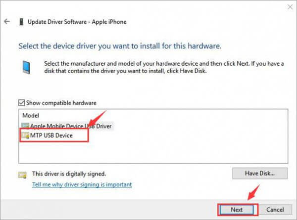 Change Active Driver in Device Manager.