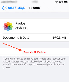 You can also remove all photos in iCloud and disable future photo synchronization to your iCloud account
