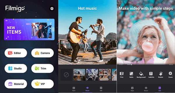 Filmigo offers the easiest way to add music and songs to videos on Android and iPhone.