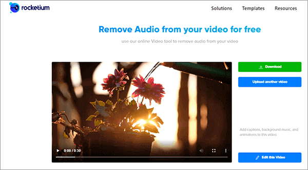 Rocketium is another free online video editor that can be used to remove audio track from video.