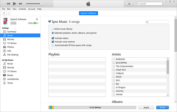 Sync Music from Computer to iPhone using Automatic Sync.