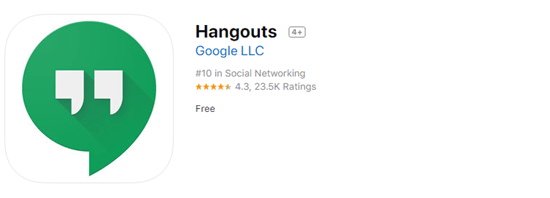 Hangout is a messaging app from Google. It allows you to chat with other people on a computer, iPhone or iPad.