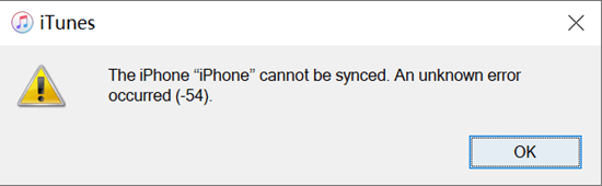 Fix iTunes Sync Error 54.