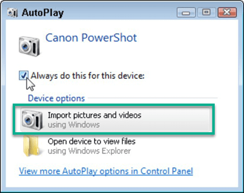 Import Pictures and Videos in Windows