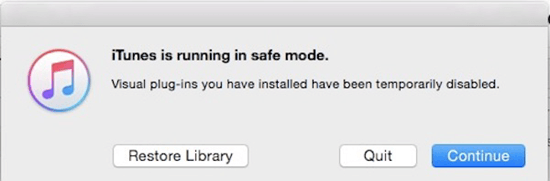 Start iTunes in Safe Mode
