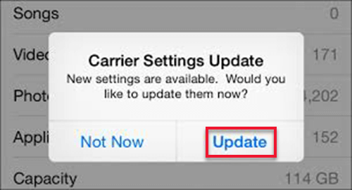Check for Carrier Settings Update
