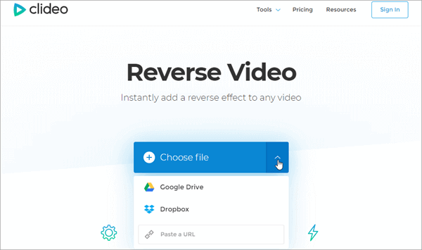 Along with many other useful video editing features, Clideo also allows you to make reverse video free online.