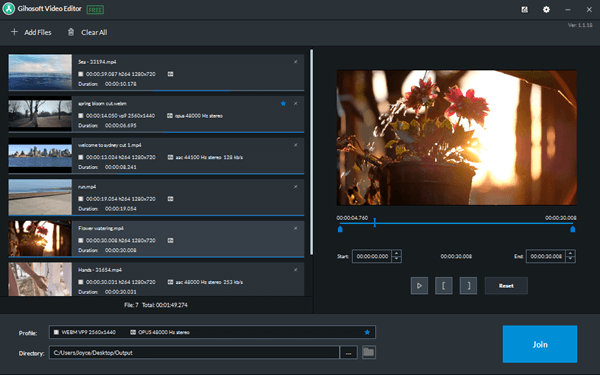 Gihosoft Video Cutter and Joiner is wonderful video editing software designed for joining videos.