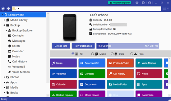 iExplorer is another software to back up the iPhone to computer..