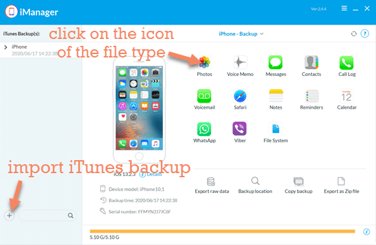 estore from iTunes Backup by Gihosoft iManager.