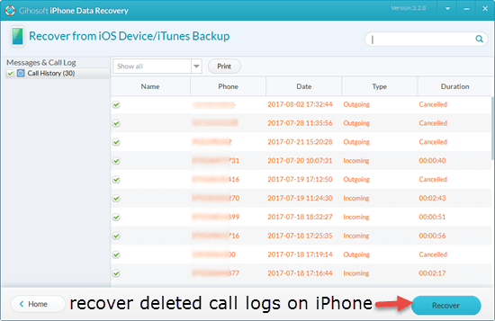 Steps to recover deleted calls from iPhone directly