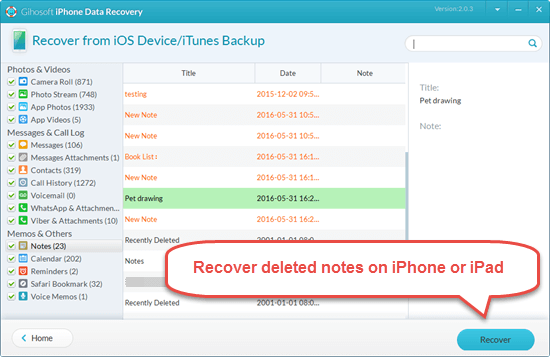 Retrieve Deleted Notes on iPhone without Backup