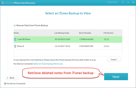 Recover Deleted Notes from iTunes Backup