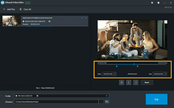 Here are the steps to quickly trim video on computer with this free video cutter