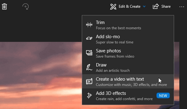 To add a song to a video, you can make use of Windows 10's Photos app.