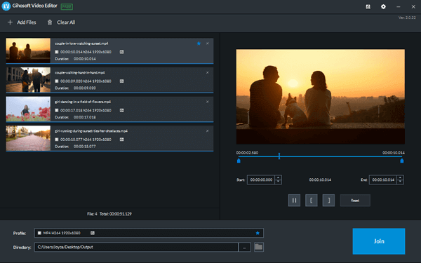 Gihosoft Free Video Joiner is a completely free utility to merge videos with transition effects at super-fast speed.