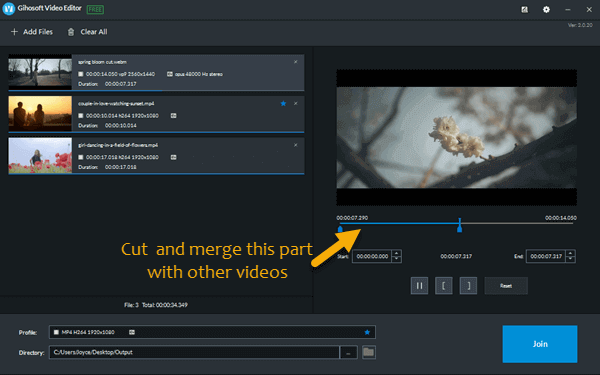 Gihosoft Free Video Joiner is a intuitive and light-weight freeware specially designed for perfectly and easily merging video files into one on Windows computer.