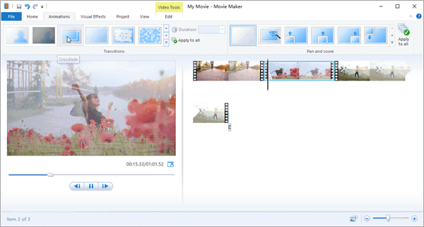 Window Movie Maker, designed only for Windows OS, is one of the best free video joiner with transition effects.