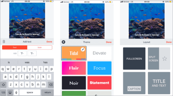 Adobe Spark is a web-based tool but also has mobile app.