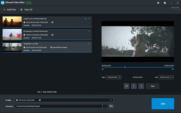 Gihosoft Free Video Joiner is a completely free and simple to use video merger that can be used to merge video files into one.