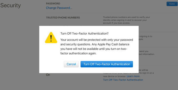 How to Turn off Two Factor Authentication
